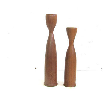 Vintage Danish Modern Teak Wood Candle Holders Candlesticks