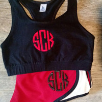 Monogrammed Running Shorts and sports bra set ,Monogram Athletic Shorts - Monogram Ladies Sports Bra