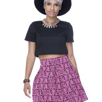 SWEET ESCAPADES BROCADE BANDAGE SKIRT