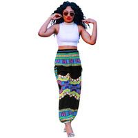 Dashiki Print Vintage Hippie Bloomer Pants in Multicolor