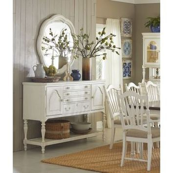 Legacy Haven Sideboard With Accent Mirror In Buttercream White