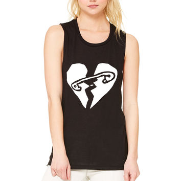 "5 Seconds of Summer 5SOS ""New Broken Scene / Safety-Pin Heart"" Muscle Tee"
