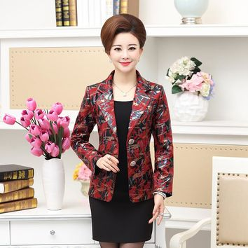 NIFULLAN Turn-down Collar Print Blazer Large Size Mother Jacket Coat Spring Autumn Women Clothing 2 Button Slim Coat Outwear
