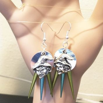 silver witch face chandelier earrings halloween blue green spikes fantasy fairytale goth handmade jewelry