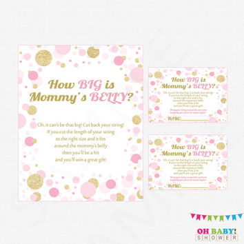 Pink and Gold Baby Shower Games, How Big is Mommy's Belly, Pink and Gold Baby Shower Printables, Girl, Instant Download, Confetti, CB0003-PG