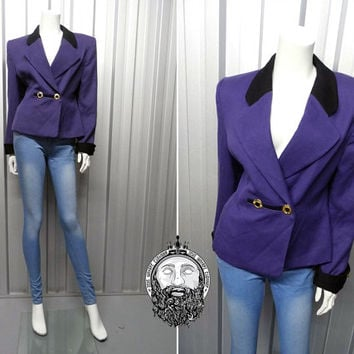 Vintage 80s Jacket JACQUES VERT Womens Blazer Purple Blazer Tailored Fit Pure New Wool Boxy Jacket Shoulder Pads 1980s Clothing Wool Jacket