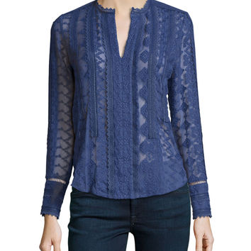 Long-Sleeve Embroidered Silk Top, Amethyst Shadow, Size: