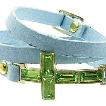Belt Closure Leather Metal Lucite Bead Braclet