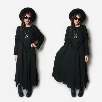 Vnt Oversized Black Witchy Dress - Black Tassel Dress - Kaftan Caftan - Slouchy Black Dress - Black Fringe Dress - Witchy Dress - Goth Dress