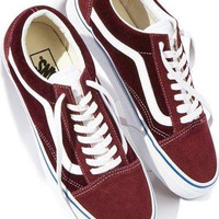 Vans wine red Classic Canvas Leisure Shoes