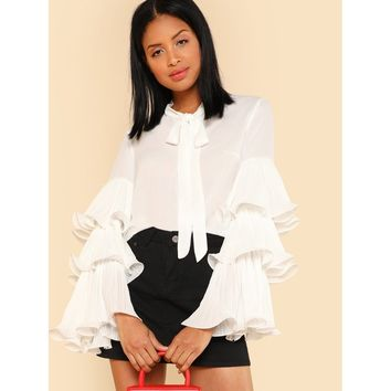 White Exaggerated Layered Sleeve Tied Neck Blouse
