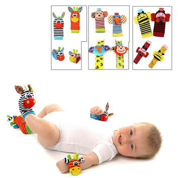 Baby Toy Baby Rattles Toys Animal Socks Wrist Strap with Rattle Baby Foot Socks Bug Wrist Strap
