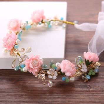 Exquisite Colorful Flower Resin Beads Headband Wedding Hair Bridal Accessories Headmade Vintage Women Headpiece Hair Jewelry