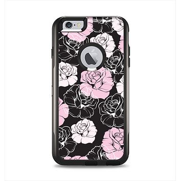 The Pink and Black Rose Pattern V3 Apple iPhone 6 Plus Otterbox Commuter Case Skin Set