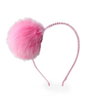 Bari Lynn Pompom Headband with Swarvoski Crystals - Light Pink