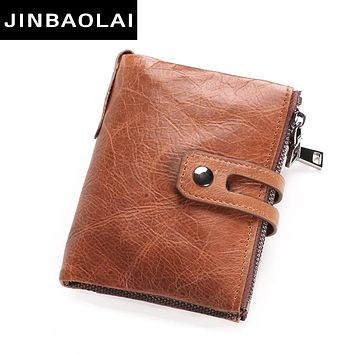 Wallets Men Leather Genuine Vintage Coin Purse Double Zipper Wallet Small Purse Solid RAID Card Holder Carteira Hombre