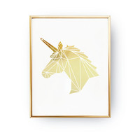 Unicorn Print, Real Gold Foil Print, Wall Decor, Gold Unicorn Poster, Minimal Art,Kids Room Decor, Geometric Poster, Nursery Decor, A3 print