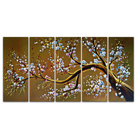 Modern Rustic Flower Tree Canvas Wall Art Oil Painting