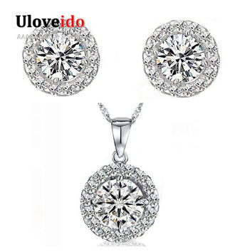 Cheap Fashion Crystal Necklace and Earring Set Women 925 Sterling Silver Jewlery Sets Christmas and New Year Gift Ulove JST001