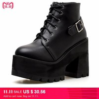 lace up punk boots fall shoes high heel ankle boots winter shoes motorcycle boots women waterproof snow boots women YMA436