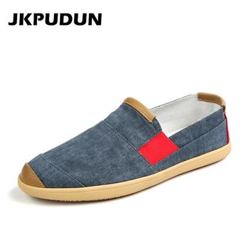JKPUDUN Summer Men Casual Shoes Luxury Brand Penny Loafers Men Espadrilles Designer Fashion Slip On Canvas Shoes Man Alpargatas