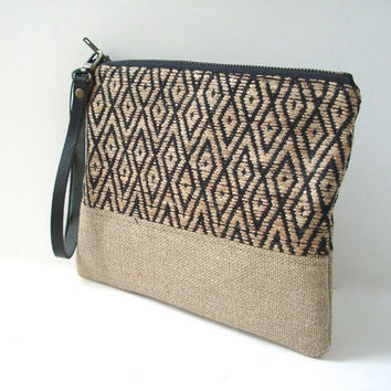 Clutch, Bag, Wristlet, Casual Clutch Bag, Jute Bag, Woven Bag, Handbag, Purse, Neutral Bag, Tribal Clutch