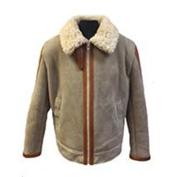 Shearling Leather Jacket with Leather Trim