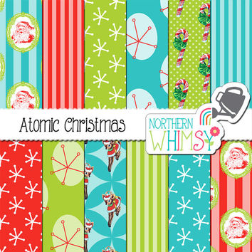 Atomic Christmas Digital Paper Pack - 1950's retro digital paper - retro Christmas printable paper - Christmas paper - commercial use