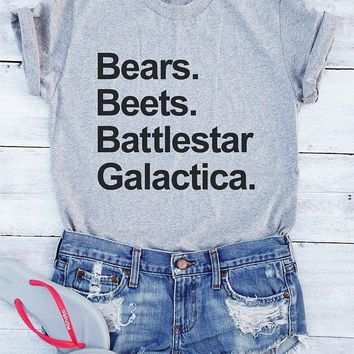 Bears Beets Battlestar Galactica T-Shirt Women Fashion grey tshirts tumblr t shirt Cotton shirt Graphic tees tops