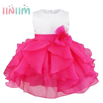 Baby Elegant Infant Girls Flower Dresses Long Wedding Bridesmaid Toddler Dress Pageant Bridal Formal Party Dress Baby Tutu Dress
