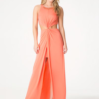 bebe Womens Petite Twist Maxi Dress Living Coral