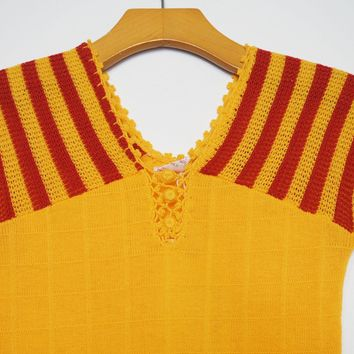 Gold & Maroon Capsleeve Knit Top