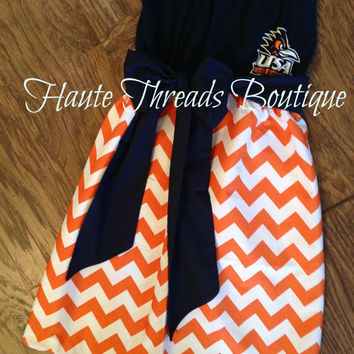 UTSA ROADRUNNERS Texas College Gameday Tube Strapless T-Shirt Dress Orange White Chevron Skirt with Bow - X-Small