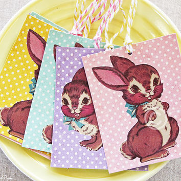 Littledearprints on etsy on wanelo retro brown bunny gift tags 6 vintage easterspring rabbit tags kitsch negle Choice Image