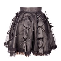 Short Black Ribboned Skirt