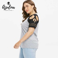 Plus Size Skull Keyhole Neck T-Shirt s Casual Two-Tone Short Sleeve