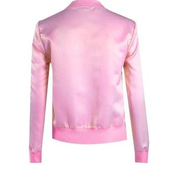 Women Coat Pink Bomber Loose Autumn Jacket Fashion Punk Zipper Vintage Blazer Outwear Coat Camperas Mujer#C131