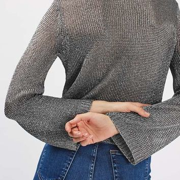 Metal Yarn Flute Sleeve Top - New In This Week - New In
