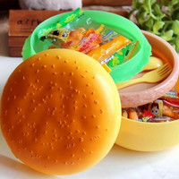 Children Hamburger Bento Lunch Box Food Container Storage with Spoon Fork Worldwide Store