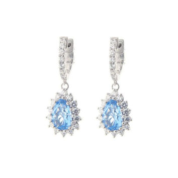 Sterling Silver Aqua Blue Cubic Zirconia Pear Pendant Huggie Hoop Earrings, Patented Clasp