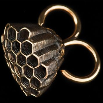 Honeycomb Ring - Honeycomb -  Wasp Nest - 2 Finger Ring - Brass Knuckles