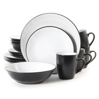Vivendi 2 Tone 16pc Dinnerware Set Black-White
