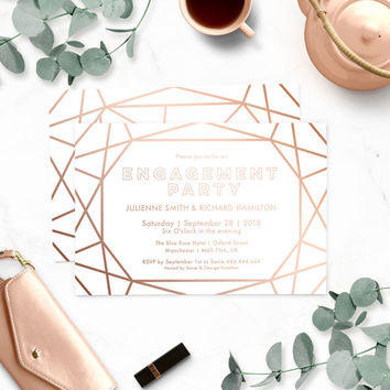 Geometric Engagement Party Invitations-Stunning Winter Engagement Party-Sophisticated Faux Gold Rose-Modern Diamond