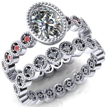 Borea Oval Moissanite Full Bezel Milgrain Padparadscha Sapphire Accent Full Eternity Ring