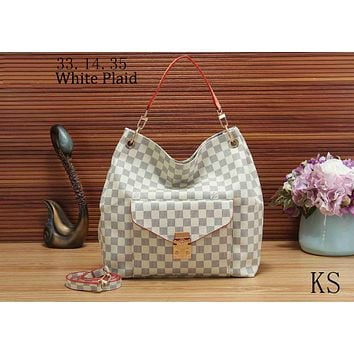 LV Louis Vuitton 2018 new women's fashion brand fashion shoulder bag handbag F-KSPJ-BBDL White Plaid