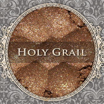 HOLY GRAIL Mineral Eyeshadow: 5g Sifter Jar, Golden Brown with Silver Glitter, VEGAN Cosmetics, Shimmer Eye Shadow