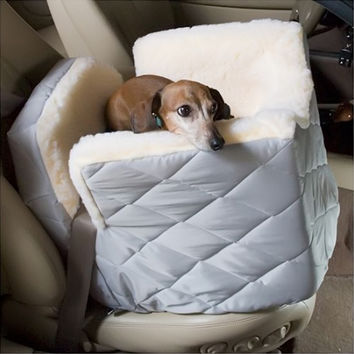 Snoozer Pet Dog Cat Puppy Outdoor Lookout I Portable Car SUV Secure Safety Seat Small Khaki Quilt