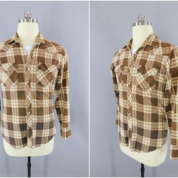 1970s Vintage Western Shirt / 1980s Plaid Flannel Shirt / Menswear / YOUNGBLOODS Western Wear / Tan Brown Tartan Plaid / Medium
