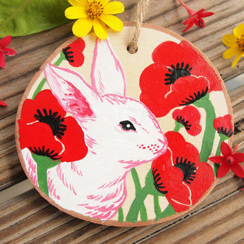 White Rabbit Bunny and Red Poppy Flowers Maple Wood Slice Wall Hanging/Ornament - mini painting, alice in wonderland, poppies, nursery decor