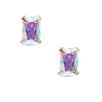 Sterling Silver Rectangular Iridescent Cubic Zirconia Earrings